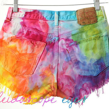 Vintage Levis 501 High Waist Rainbow MARBLED Dyed Denim Cut Off Shorts L