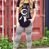 I Love You To The Moon & Back Top: Black/Cream