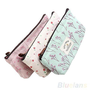 New Flower Floral Pencil Pen Case Cosmetic Makeup Tool Bag Storage Pouch Purse [10198322567]