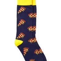 Pizza Print Socks Blue/Yellow One