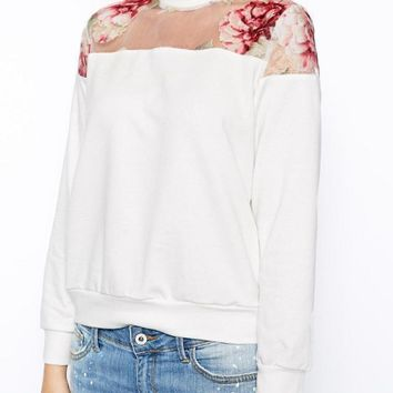 White Floral Print Zip-Back Sweater