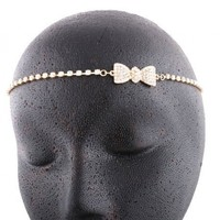 2 Pieces of Goldtone with Clear Iced Out Bow Head Chain