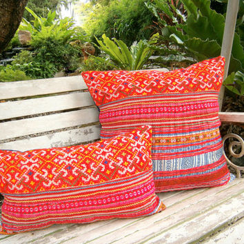 Orange Hmong Embroidered Boho Pillows Colorful Rectangular Cushion Cover