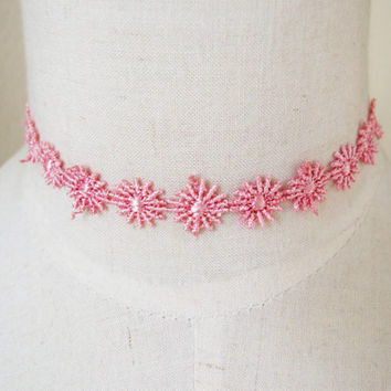 Victorian pink lace choker daisy flower necklace vintage cute girl women jewelry gift