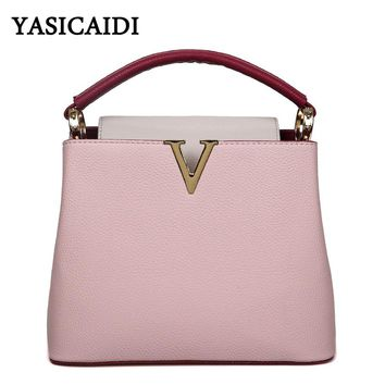 High quality Women V Letters Tote handbags Womens Leather Commuter Office bag Women's Contrast color Famous Ladys V messager bag