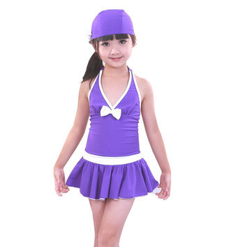 Free Shipping 2017 Solid Polyester Kids Girls Swimwear Swimsuit Swimming Girl Style Summer Children one piece bathing suit dress