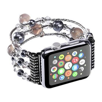 Fashion Women Quartz Watch Elastic Stretch Faux Pearl Band Bracelet Replacement for Apple Watch Series 2 Series 1