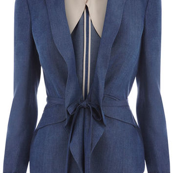 Drawstring Waist Tailored Blue Jacket