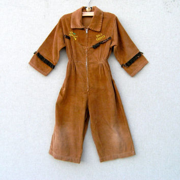 Vintage Boy's Davy Crockett Corduroy Jumpsuit - 1950s Disney Craze Fashion - Toddler Size - Fringe Cuffs - Children's Clothing 50s