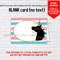 Instant Download, blank Card, #1066 gold unicorn, pink food tent Card, place card, 3.5x2.5inch printable , non-editable NOT CUSTOMIZABLE