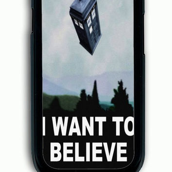 Samsung Galaxy S3 Case - Rubber (TPU) Cover with tardis dr who i want to believe Rubber Case Design