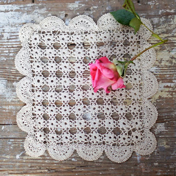 Exquisite Vintage Crochet Doily Ivory or Cream Small Square Floral Fine Lace Mat with intricate scalloped border - gorgeous wedding gift