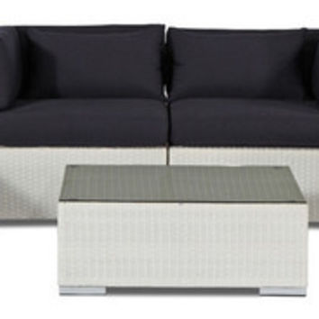 2016 Modern Patio Loveseat/Sofa 5 Piece Set, White Wicker, Navy