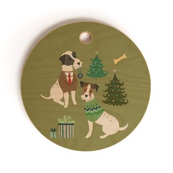 Pimlada Phuapradit Christmas Canine Jack Russell Cutting Board Round