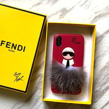 Fendi Tide brand Galeries Lafayette iPhoneXs Max plush half pack mobile phone case cover red