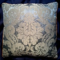 Rubelli Ruzante Light Blue Silk Damask Fabric Throw Pillow Cushion Cover - Handmade in Italy