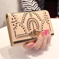 Geometric Pierced Wallet Hollow Out Crown Clutch Bag