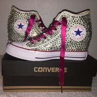 Bedazzled Converse Wedges In Crystal With Burgundy Red Ribbon Laces