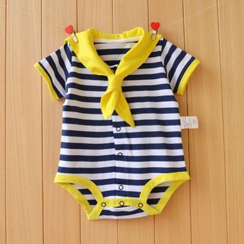 Summer Short sleeve Newborn baby clothes Sailor uniforms style baby rompers baby boy girl clothes Summer cotton body infantil