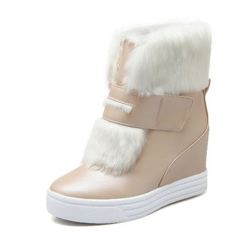 warm faux fur waterproof snow boots women winter fashion ladies ankle boots big size 34-43 white beige pink color dropshipping