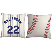 Set of 2 Personalized Baseball Pillows - Custom Name Baseball Throw Pillow Covers and or Cushion Inserts - Custom Baseball Print, Room Decor