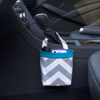Car Cellphone Caddy Center Console ~ Gray Chevron with Turquoise Band