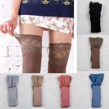 Women Knitting Lace Cotton Over Knee Thigh Stockings High Socks Pantyhose Tights