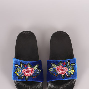 Embroidered Floral Slide Sandal | UrbanOG