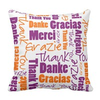 Purple and Orange Thank You Word Cloud Throw Pillow