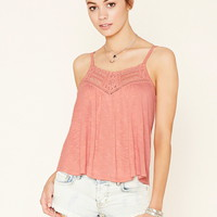 Pintucked Polka Dot Lace Cami