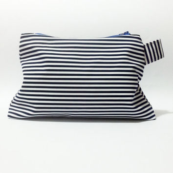 large cosmetic bag, striped pouch, white and blue navy, nautical purse, zipper pouch