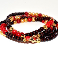 Red, Gold, and Wood Wrap Bracelet - Beaded Bracelet - Wood Jewelry - Gold and Red Bracelet