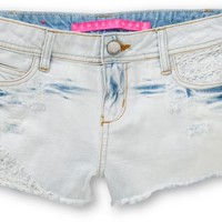 Tinsel Town Emily Bleached Crochet Cut Off Shorts