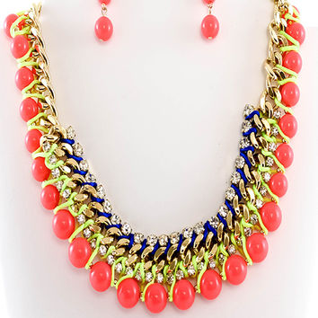 Statement Neon Beads Necklace & Earrings Set