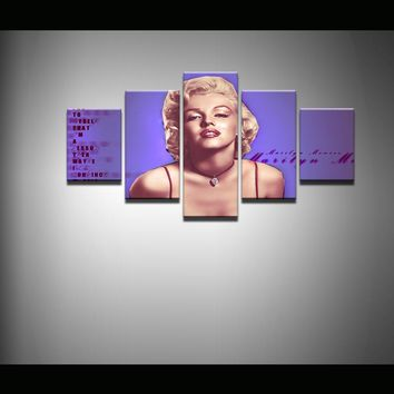 5 Pieces Canvas Print Marilyn Monroe Painting Wall Art Panel Print Picture