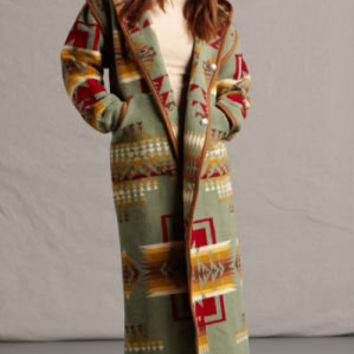 Wool Coats for Women, Reversible Pendleton ® Fabric Chief Joseph Long Coat, Sage