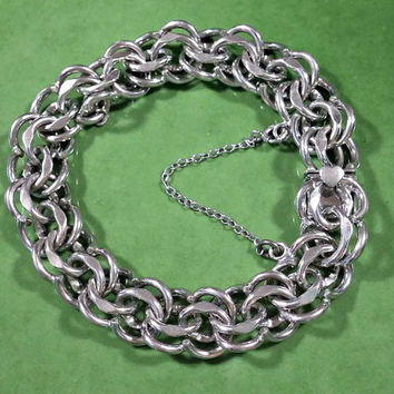 Vintage Sterling Silver Charm Bracelet Chain Starter Forstner Sterling Double Link Heavy Duty Will Hold A Bunch of Charms Very Well Made