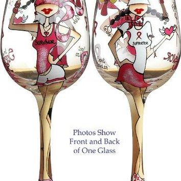 Bottoms Up 15Ounce Fight Like a Girl Handpainted Wine Glass