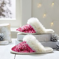 Sparkle Sequin Slippers, Pink Magenta