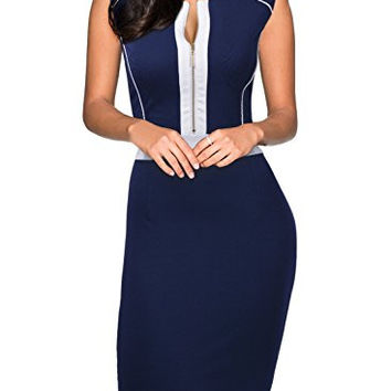 Miusol Women's Formal Scoop Neck Optical Illusion Fitted Bodycon Pencil Dress