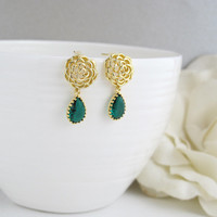 Romantic Gold Rose with Emerald Green Glass Teardrop Ear Post. Modern Everyday Wear. Bridal Wedding Jewelry, Bridesmaid Gift
