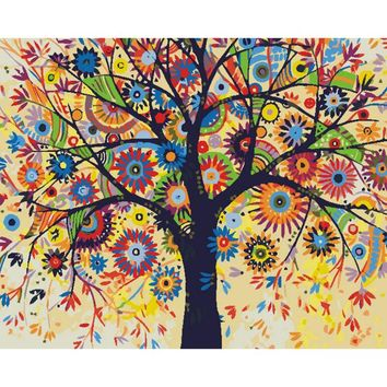 Abstract Tree DIY Paint Numbers Kit: Includes Acrylic Paints, Brushes and Canvas