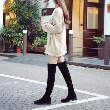 Hot Deal On Sale Winter Knee-length Matte Sexy Slim Stretch With Heel Boots [120849727513]