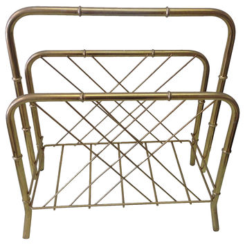 Brass Faux-Bamboo Magazine Rack