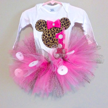Minnie Mous Glam Birthday Outfit- Leopard Print tutu Onesuit shirt- Cheetah Print Birthday Outfit- Minnie Mouse Birthday Girl- Tutu