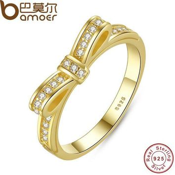 DCCKL6D BAMOER Authentic 100% 925 Sterling Silver Bow Knot Stackable Ring Micro Pave CZ  Rose Color Women Wedding Jewelry PA7129