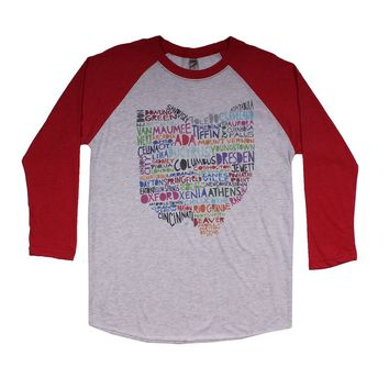 Ohio Cities and Towns Raglan Tee Shirt in Red by Southern Roots