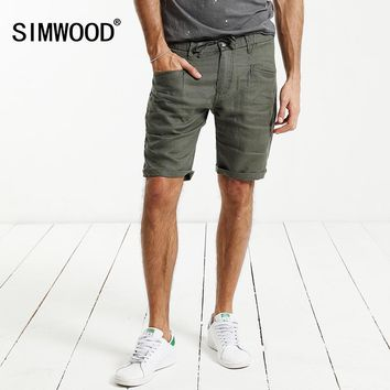 SIMWOOD 2017 Summer New Shorts Men 100% Pure Linen Thin Breathable Knee Length Slim Fit Plus SizeBrand Clothing KD5066