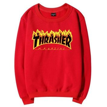 Day-First™ Thrasher flame Hedging pullover Tops Sweater Couple fleece