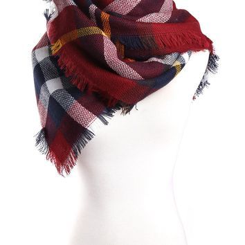 CNACCASU Wool Blend Large Tartan Checked Plaid Scarf winter Gridlock Shawl Cowl(FBA)